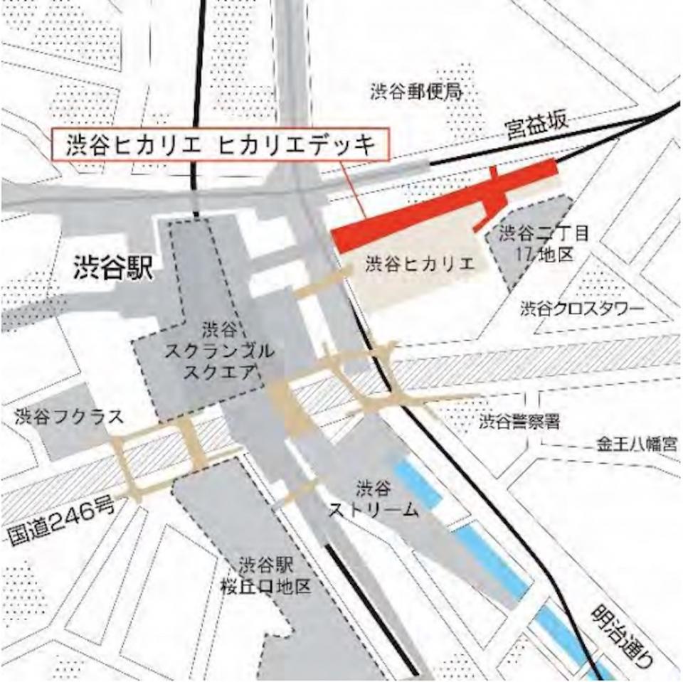 ニュース画像 1枚目:「渋谷ヒカリエ ヒカリエデッキ」位置図