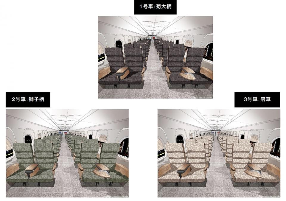 ニュース画像 2枚目:指定席の1号車「菊大柄」、2号車「獅子柄」、3号車「唐草」